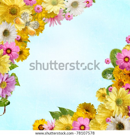 Flower frame with space for copy or photo with water drops - stock photo