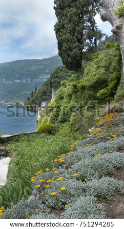 Flower Garden in the Hills Above Lake Como, Italy