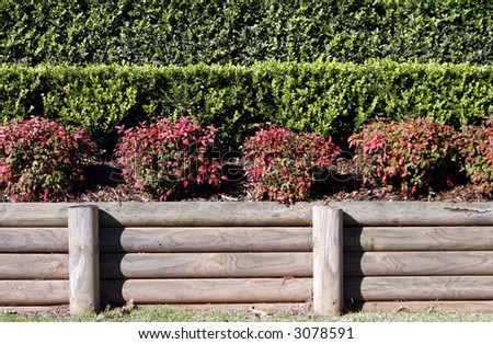 Flower Garden, Red And Green Plants, Timber Bars, Background, Backdrop
