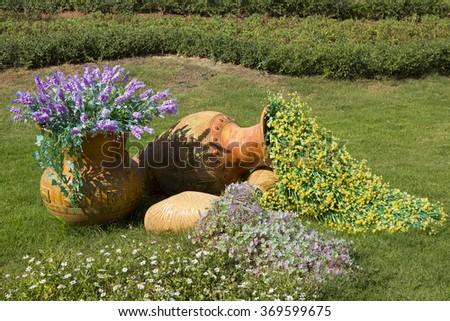 Flower gardening - stock photo