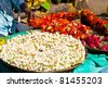 Flower garland on a market in Mysore,  Karnataka, India - stock photo