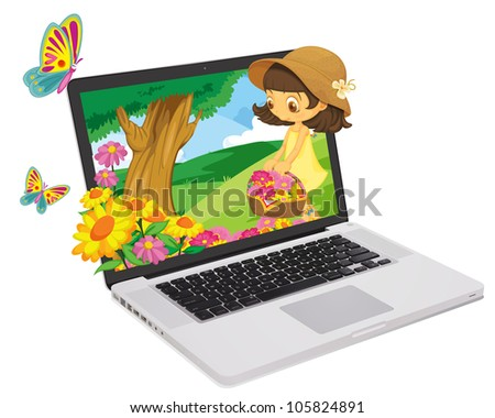 Flower girl coming out of a computer screen - stock photo