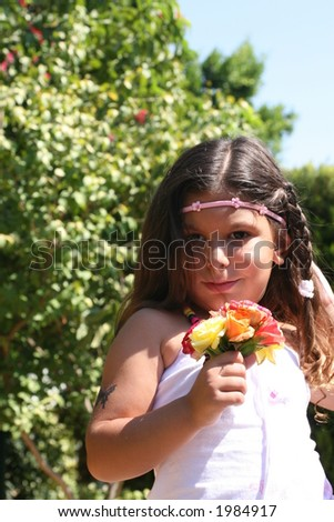 Flower Girl with green background