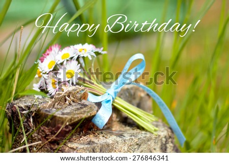 flower greeting card background - happy birthday - stock photo
