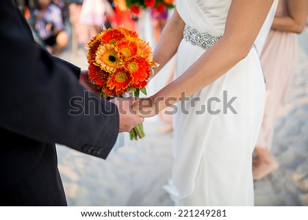 Flower Groom and bride together. - stock photo