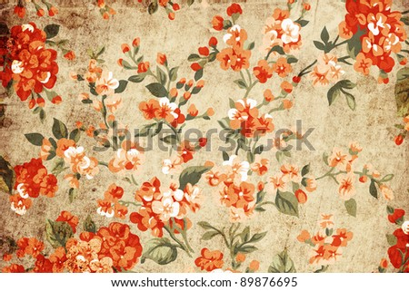 Flower grunge art - stock photo