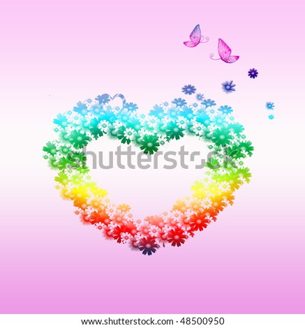 flower heart background - stock photo