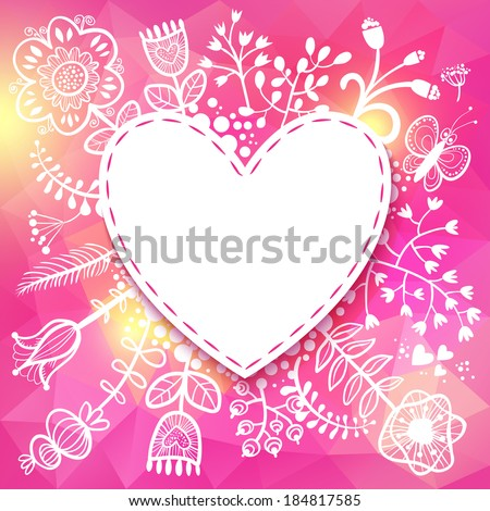 Flower Heart frame. Raster version. illustration, can be used as creating card, wedding invitation, birthday, valentine's day and other holiday and summer or spring background. - stock photo