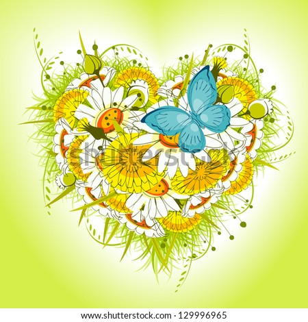 Flower heart of daisies and dandelion, with  butterfly on a green background. valentine card. raster version - stock photo