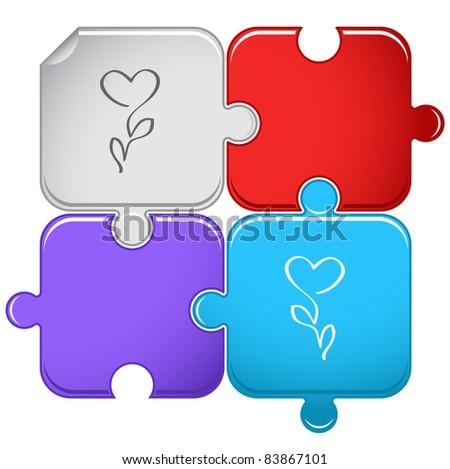 Flower-heart. Raster puzzle. Vector version is in portfolio. - stock photo