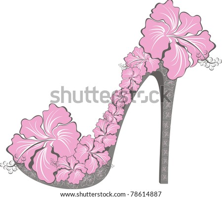 Flower high heel. Shoes decorated with hibiscus - stock photo
