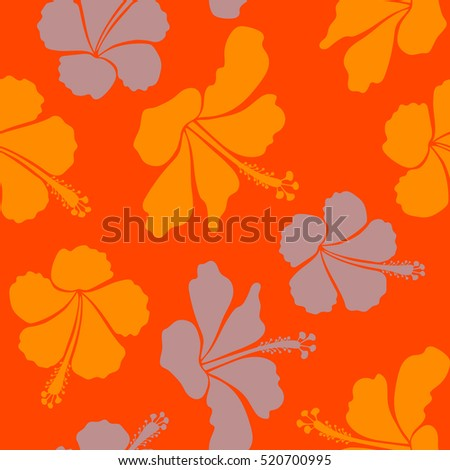 Flower illustration. Seamless pattern with floral motif. Seamless floral pattern with orange and neutral hibiscus flowers, watercolor.