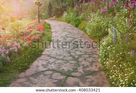 Flower in the garden with stone walkway at the morning sunshine