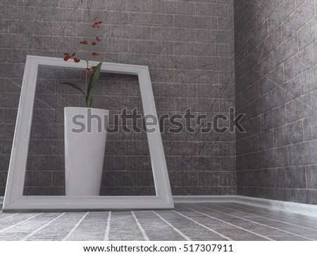 flower in the vase, grunge composition, 3d rendering