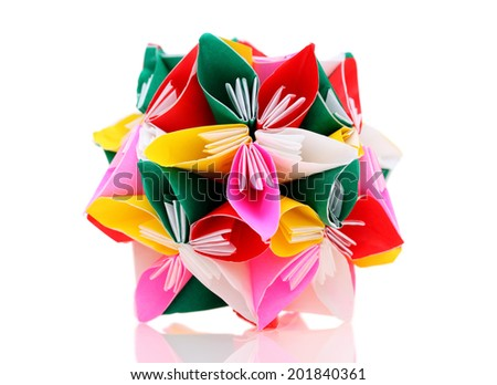flower made of origami paper on white background  - stock photo