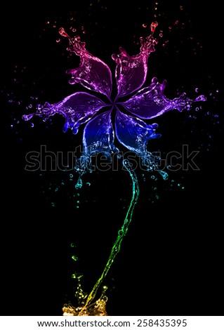 flower made of water splash - stock photo