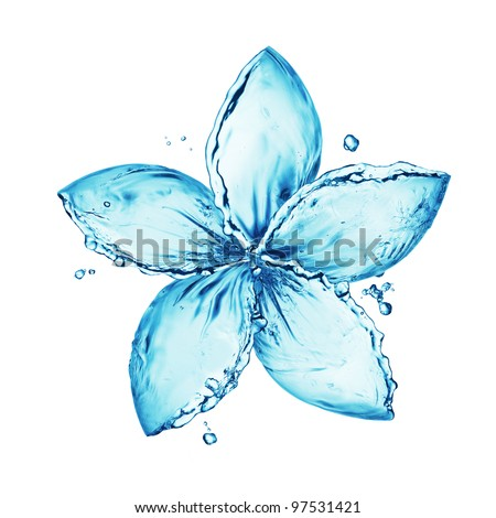 flower made of water splash - stock photo
