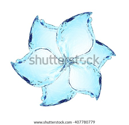 Flower made of water splashes isolated on white - stock photo