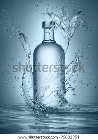 flower made of water with vodka bottle - stock photo