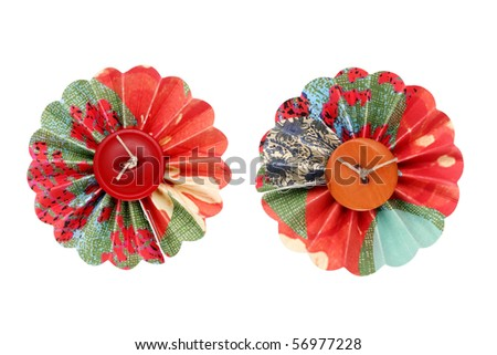 Flower made with button and paper - stock photo