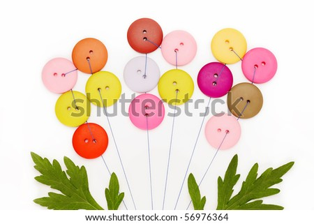 Flower made with buttons - stock photo