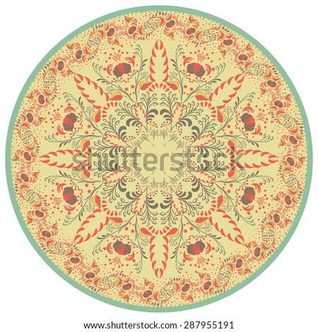 Flower Mandala. Vintage decorative element. Oriental and Chinese motif. Retro colors. Rasterized version. - stock photo