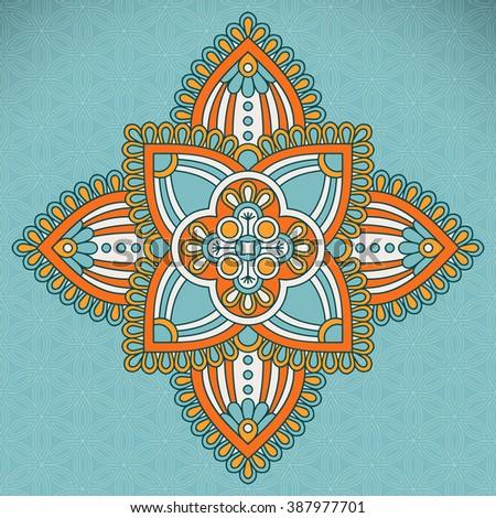 Flower Mandala. Vintage decorative elements. Oriental pattern, vector illustration. Islam, Arabic, Indian, turkish, pakistan, chinese, ottoman motifs - stock photo