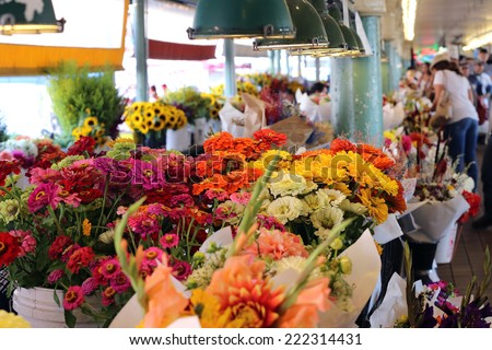 Flower Market - stock photo