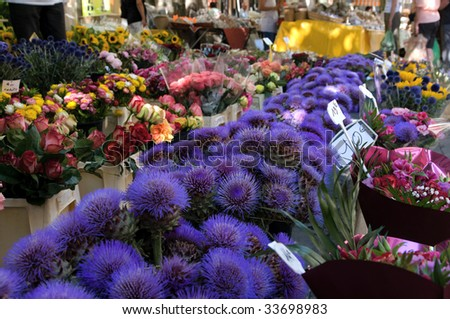 Flower market in Provence - stock photo