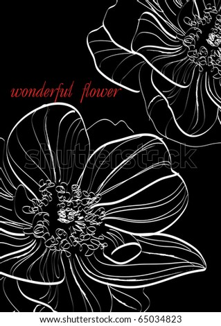 flower mix . Hand drawn illustration of the flower. - stock photo