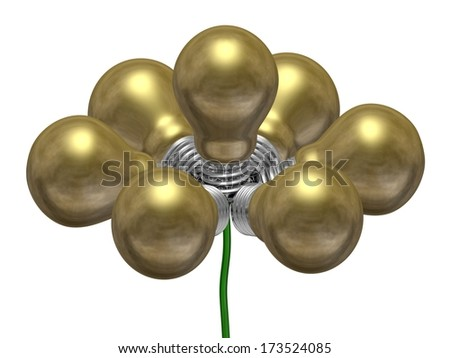 Flower of golden light bulbs on green wire isolated on white background