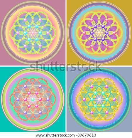 Flower of Life Set - stock photo