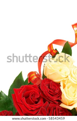 Flower of red and white roses on white background a free space for custom text.
