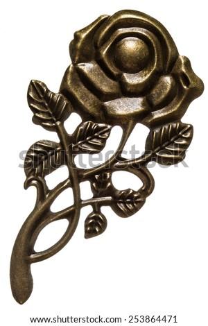 Flower of rose, decorative element, isolated on white background - stock photo