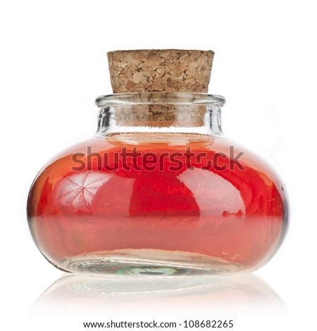 flower oil in bottle flask isolated on white - stock photo