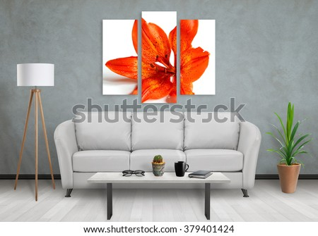 Flower On Wall Art Canvas In Three Parts Sofa Lamp Plant And Table