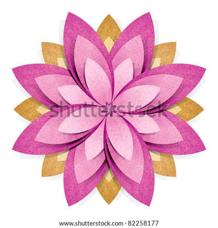 Flower origami  recycled paper craft stick on white background - stock photo