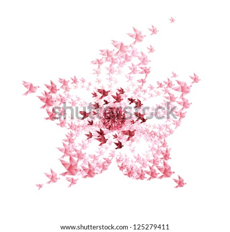 flower origami shaped from flying birds - JPG VERSION - stock photo
