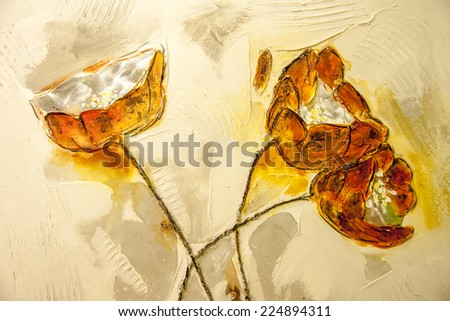 Flower painting - stock photo
