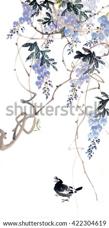 Flower painting .Traditional Chinese Painting.