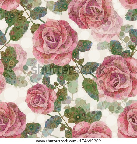 Flower pattern. Abstract seamless background. Pink roses - stock photo