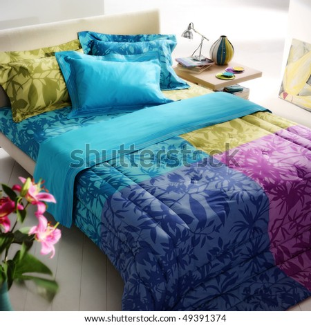 flower pattern, colorful bed - stock photo