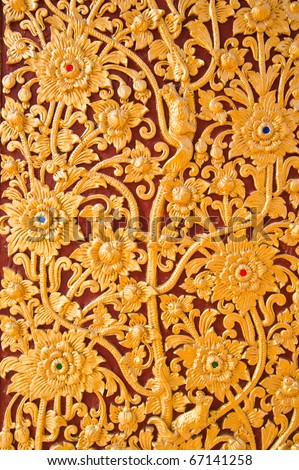 flower pattern in traditional Thai style art - stock photo