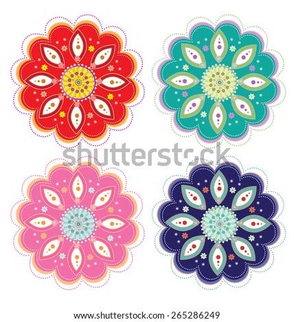 Flower Pattern Set - stock photo