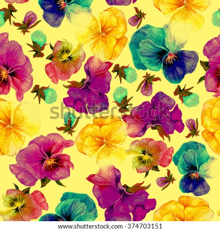 Flower pattern, watercolor painting on yellow background - stock photo