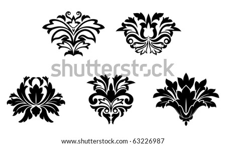Flower patterns isolated on white for design. Vector version also available in gallery - stock photo