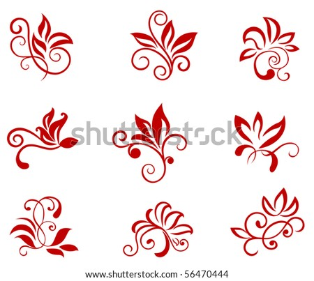 Flower patterns isolated on white. Vector version also available in gallery - stock photo