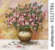 flower, picture oil paints on a canvas: bouquet of freesia in a clay pot - stock photo