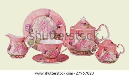 flower porcelain service - stock photo