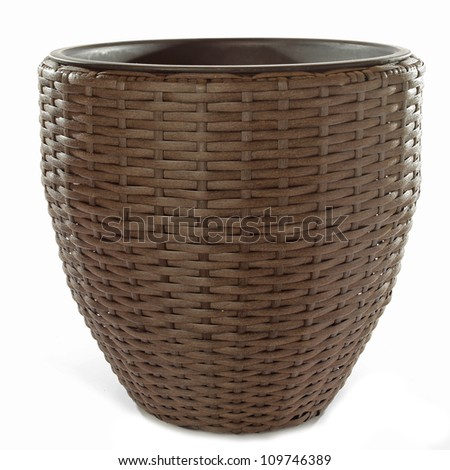 flower pot isolated on white - stock photo